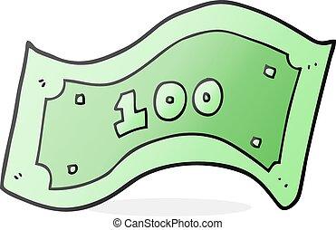 100, note, dollar, dessin animé
