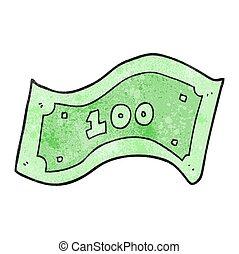 100, note, dollar, dessin animé, textured