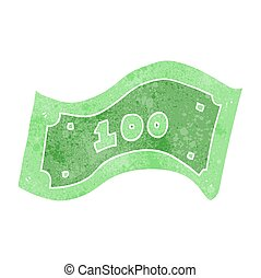 100, note, dollar, retro, dessin animé