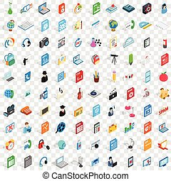 100 notebook icons set, isometric 3d style