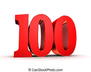 100, -, numrera, röd