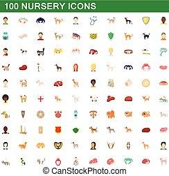 100 nursery icons set, cartoon style