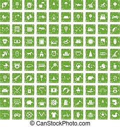 100 nursery icons set grunge green