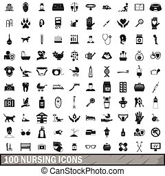 100 nursing icons set, simple style - 100 nursing icons set...