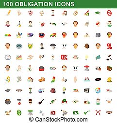 100 obligation icons set, cartoon style