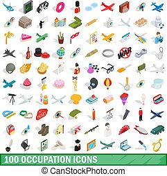 100 occupation icons set, isometric 3d style