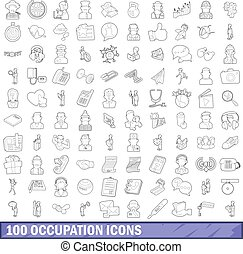 100 occupation icons set, outline style