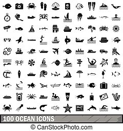 100 ocean icons set, simple style