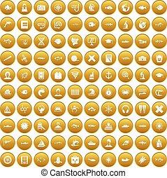 100 oceanologist icons set gold