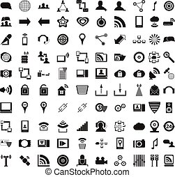 100 office icons set, simple style