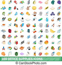 100 office supplies icons set, isometric 3d style