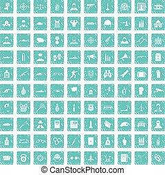 100, officer, iconerne, sæt, grunge, blå