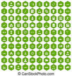 100 officer icons hexagon green