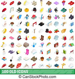 100 old icons set, isometric 3d style