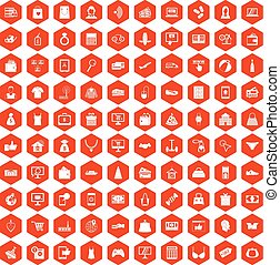 100 online shopping icons hexagon orange