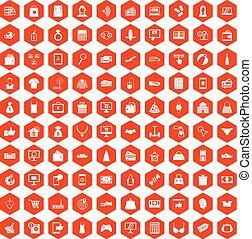 100 online shopping icons hexagon orange