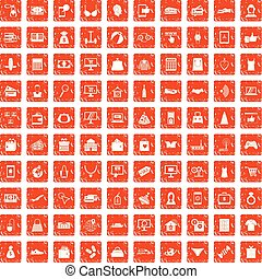 100 online shopping icons set grunge orange