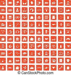 100 online shopping icons set grunge orange