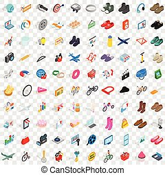 100 online shopping icons set, isometric 3d style