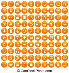 100 online shopping icons set orange