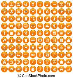 100 online shopping icons set orange