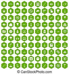 100 oppression icons hexagon green
