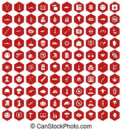 100 oppression icons hexagon red