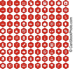100 oppression icons hexagon red - 100 oppression icons set...