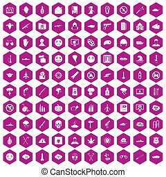 100 oppression icons hexagon violet