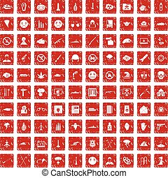 100 oppression icons set grunge red - 100 oppression icons...