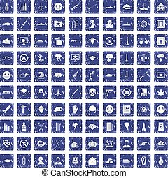 100 oppression icons set grunge sapphire - 100 oppression...