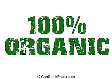 100%, orgânica, texto