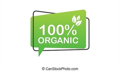 100 organic, great design for any purposes. Green icon. Natural product. Organic fruit. stock illustration.