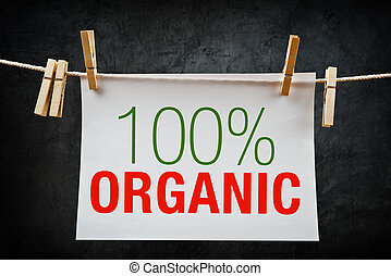 100% Organic label - 100% Organic. Hundred percent organic...