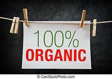 100% Organic label - 100% Organic. Hundred percent organic...