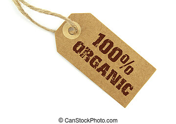 100% Organic label on white background