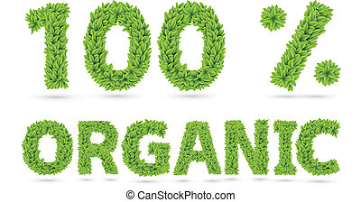 100% organic text of green leaves