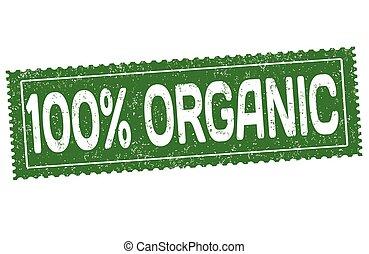 100%, organico, segno, o, francobollo