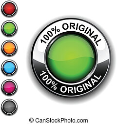 100%, original, button.