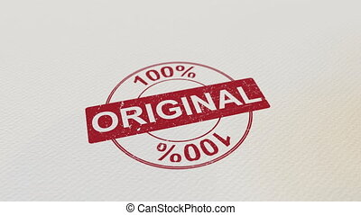 100% ORIGINAL wooden stamp conceptual animation. Alpha matte...
