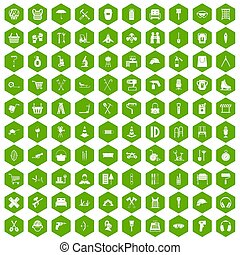100 outfit icons hexagon green