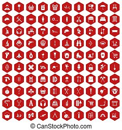 100 outfit icons hexagon red