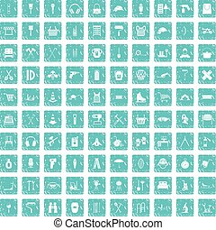100 outfit icons set grunge blue