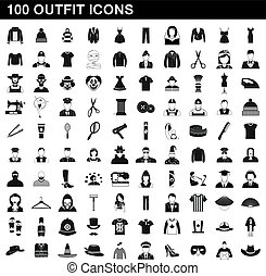 100 outfit icons set, simple style