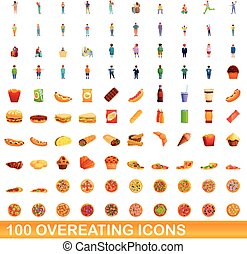 100 overeating icons set, cartoon style - 100 overeating ...