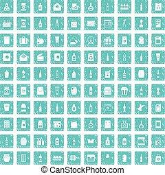 100 packaging icons set grunge blue