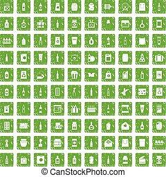 100 packaging icons set grunge green