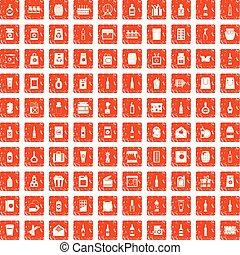 100 packaging icons set grunge orange
