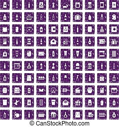 100 packaging icons set grunge purple