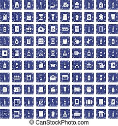 100 packaging icons set grunge sapphire